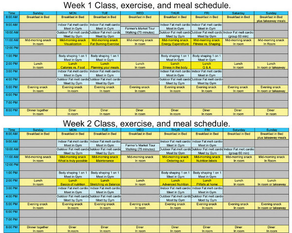 sample schedule designer body retreat